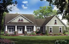 House Plan 59192 | Country Craftsman Plan with 1900 Sq. Ft., 3 Bedrooms, 3 Bathrooms, 2 Car Garage at family home plans