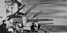 Scharnhorst's 105mm and 150mm twin gun turrets.