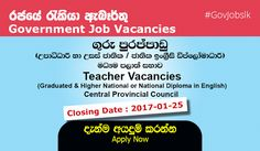 Sri Lankan Government Teacher Vacancies Vacancies at Central Provincial Council (Graduated & Higher National or National Diploma in English)