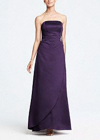 This satin, strapless, elegant ball gown is a bold and dramatic look.   The brooch adds just the right amount of sparkle to the flattering side-drape skirt! Wear this classic piece to look timeless and beautiful.  Keep jewelry simple for a minimalist look.  Fully lined. Back zip. Imported polyester. Dry clean.  Available in extra length sizes.  Get inspired by our colors.   *SPECIAL VALUE! Was , Now !