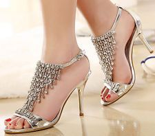 Silver Diamond High Heel Wedding Party Sandal Sexy Womens Gladiator Strap Shoes