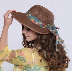 Polka dot ribbon bow sun hat for women UV beach straw hats package