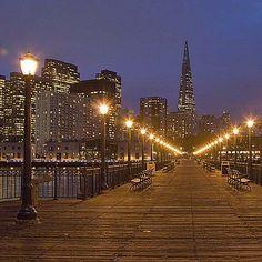 San Francisco at Night: Pier 7 and City Skyline San Francisco At Night, San Francisco Vacation, San Francisco Travel, San Francisco California, San Francisco Skyline, Seattle, San Pablo, Vacation Planner, Night Aesthetic