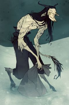 "by Abigail Larson. Krampus illustration from ""The Spirit of Krampus"" showing at the ""Yuletide Monsters"" show @ Friday December in Evil Children, Abigail Larson, Scary Monsters, 12 Days, Mythical Creatures, Yule, Demons, Dark Art"