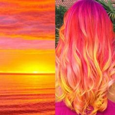 Hair color bright sunset hair Lawn Furniture If you love being outdoors, you should pick lawn furnit Ombre Hair Color, Cool Hair Color, Purple Ombre, Crazy Hair Colour, Ombre Hair Rainbow, Amazing Hair Color, Rainbow Hair Colors, Elumen Hair Color, Unicorn Hair Color