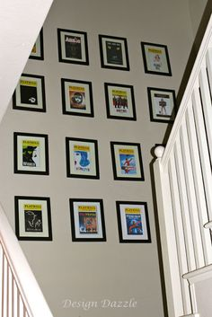 Playbills, framed on wall. /// Better if going along the wall up the stairs. OR on the one wall at the top of the stairs against B1 and B3
