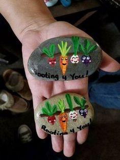 Rock Painting vegetable vegetables veggies encouragement