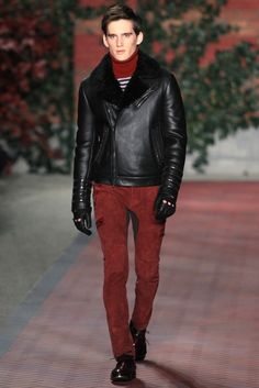 Tommy Hilfiger Men's RTW Fall 2012 - Leather Motto Jacket and Red Suede pants