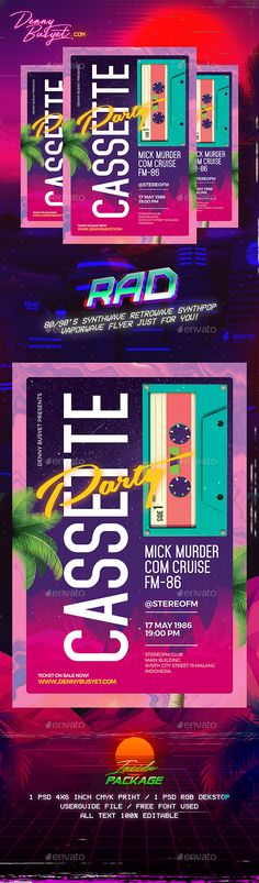 Cassette Party Retro 80's Synthwave Flyer — Photoshop PSD #rad #palm trees • Download ➝ https://graphicriver.net/item/cassette-party-retro-80s-synthwave-flyer/19564948?ref=pxcr
