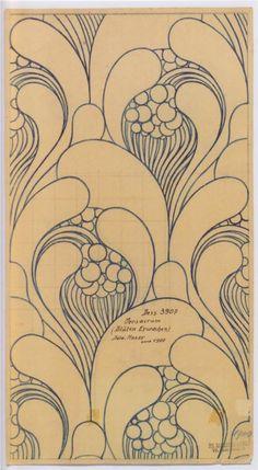 Fabric design for Backhausen c.1900 ~ artist Koloman Moser, Austria   . . . .   ღTrish W ~ http://www.pinterest.com/trishw/  . . . .  #Art_Nouveau #watercolor #doodle