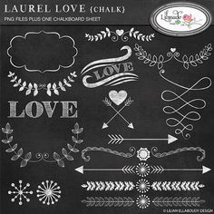 Laurel hearts and arrows clip art chalkboard style by bylilmade