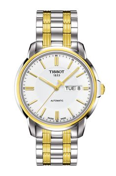 Tissot Men's T Classic Powermatic Automatic Two-Tone Watch Stainless steel case with a two-tone (silver and gold PVD) stainless steel bracelet. Stainless Steel Bracelet, Stainless Steel Case, Cool Watches, Watches For Men, Wrist Watches, Citizen Watches, Cheap Watches, Women's Watches, Fashion Watches