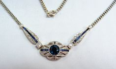 Stunning and rare Art Deco platinum necklace, Stamped 18K solid gold jewelry, Platinum, diamond, sapphire and gold pendant, fine gold chain