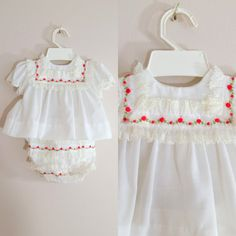 Vintage 1950s Baby Outfit / White and Red Roses / 6 Months Shop at www.etsy.com/Shop/ThriftyVintageKitten