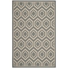 """Safavieh Courtyard Anthracite/Beige Indoor/Outdoor Geometric Pattern Rug (5'3"""" x 7'7"""") 