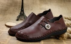 Trendy Stitching and Solid Color Design Loafers For Men