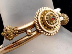 Victorian Hand Cut Rose Garnet Gold Filled Bangle Bracelet Antique | eBay