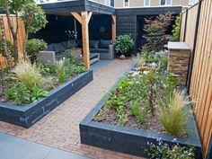 New urban garden construction in Diever Front Garden Landscape, Garden Paving, Small Backyard Patio, Backyard Landscaping, Courtyard Design, Small Garden Design, Garden Inspiration, Home And Garden, Architecture