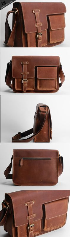 White wolf Handmade Oil Wax Leather Shoulder Bag Messenger Bag Retro Leather Man Bags Color : Brown