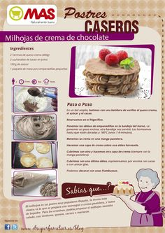 Receta para preparar milhojas de chocolate