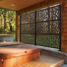 health fitness - 75 Easy Cheap Backyard Privacy Fence Design Ideas DecorEditor com Hot Tub Privacy, Privacy Screen Outdoor, Backyard Privacy, Deck Privacy Screens, Cheap Privacy Fence, Hot Tub Backyard, Backyard Patio, Backyard Landscaping, Landscaping Ideas