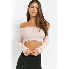 Forever21 Distressed Crop Top ($28) via Polyvore featuring tops and pink