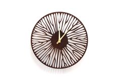 """WALL CLOCK - """"Branches"""" - 12"""" Laser Carved Wood Clock with made in USA movement and brass hands"""
