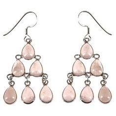 Boucles d'oreilles chandelier en Argent 925 et Quartz rose: ShalinCraft: Amazon.fr: Bijoux