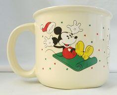 Hallmark Disney Santa Hat Mickey Mouse Skating Sledding Tea Coffee Mug #Hallmark #MickeyMouse #Disney