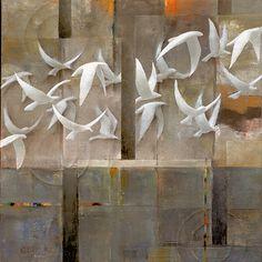 "Galleria scorrevole.                                         Sergio Cerchi, italian painter (Firenze), ""Birds"", oil on canvas."