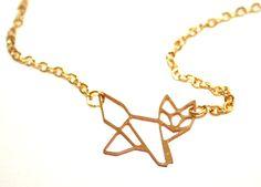 ♥  Kleiner Fuchs ♥ Vergoldete Origami Kette  von ♥ Karamboola Noir ♥ auf DaWanda.com