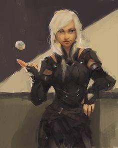 Cyberpunk Mercenary , Vanessa Palmer on ArtStation at https://www.artstation.com/artwork/qOq02