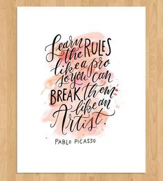 Yes, this. :: Artist Rules Quote Calligraphy Art Print by Mint Afternoon