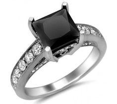2.73ct Black Princess Cut Diamond Ring 18k White Gold