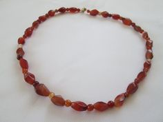 Red Agate Necklace by dreamdesigns on Etsy