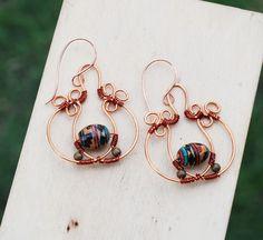 Ethnic Ceramic Pumpkin Cinderella Carriage Copper Wire Wrap Earrings OOAK Unique #Jeanninehandmade #Wrap