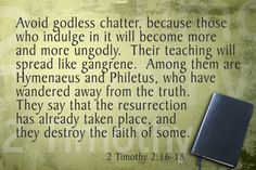 In 2 Timothy Paul encourages Timothy to avoid godless chatter, and gives a couple of examples of false teachers who have led others astray. The Words, 2 Timothy 4, Verses For Cards, Jesus Is Coming, Give Me Strength, Jehovah, Word Of God, Bible Verses, How To Memorize Things