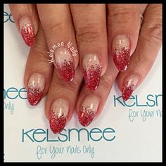 Youngnails gel red And gold glitterfade