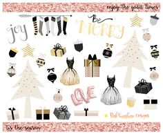 Pink, Black and Gold CHRISTMAS Clipart Stickers Planner Stationery by…