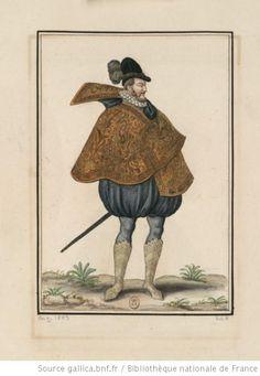 """Dessin / Aquarelle : """"Figure de gentilhomme en pied, portant le costume français de 1580"""". Collectionneur : Gaignières, Roger de (1642-1715)."""
