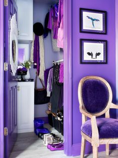 Thanks to fresh paint, an updated floor, ready-made cabinets and double-hang rod installation, what was a disorganized closet is now functions more as a sophisticated, organized dressing room for an elegant, stylish tween.