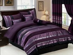 53f750d2cb2 7 Pieces Modern Purple Black Striped Comforter Bed-in-a-bag Set Queen Size
