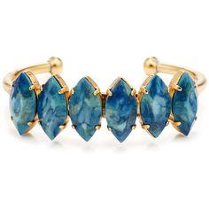 Rental Elizabeth Cole Blue Brady Bracelet ($50) ❤ liked on Polyvore featuring jewelry, bracelets, 24-karat gold jewelry, blue bangles, 24k jewelry, antique gold jewellery and elizabeth cole jewelry