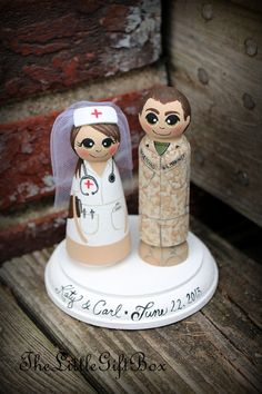 Wedding Cake Topper / Wood Peg Dolls with Plaque - Nurse and Soldier / Army -Navy -Air Force -Marines -Marine Corps -Armed Forces -Military