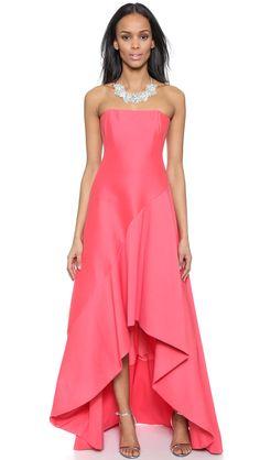 Halston Heritage Strapless Structured Gown