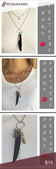 "Silver Funky Boho Feathers Layered Necklace Everyone needs this layered necklace to complete their funky boho look. Turquoise, jeweled bling & feathers all in one super fun necklace. 12"" + extender. Silver chain black feather delicate Jewelry Necklaces"