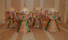 Vintage Lot of 4 Christmas Paper ANGEL Ornaments JAPAN Spun Cotton Head C447