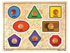 Melissa & Doug Large Shapes Jumbo Puzzle by Melissa & Doug. $15.99. Extra-large knobs make it easy for small hands to remove each brightly colored piece. A perfect first puzzle, this super-size, solid-wood puzzle features all the classic geometric shapes. Recommended Age Range 1 Years and up. Helps little ones develop fine motor and matching skills. Matching full-color pictures are underneath. From the Manufacturer                Extra-large knobs make it easy for smal...