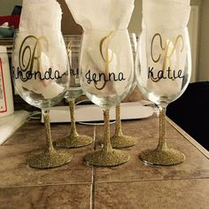 Monogram Glitter Wine Glass, Personalized Wine Glass,Custom Wine Glass Monogrammed Wine Glass, Personalized Gift, Personalized Monogram Gift