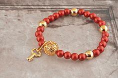 [바보사랑] 강렬한 레드 참장식 팔찌! /펄/팔찌/참/골드/진주/핸드메이드 팔찌/원석/주얼리/악세서리/장식/열쇠/Bracelet/Charm/Gold/Pearl/Handmade/Ore/Jewelry/Accessories/Decoration/Key